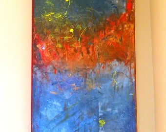 """Large acrylic painting on canvas 75x45cm - """"Sunset at the lake"""""""