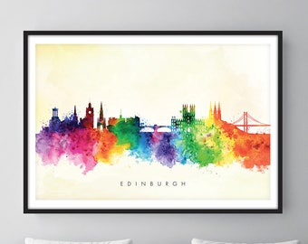 Edinburgh Skyline, Edinburgh Scotland Cityscape Art Print, Wall Art, Watercolor, Watercolour Art Decor [SWEDI04]