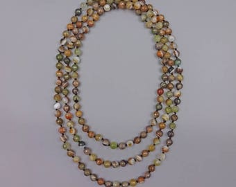 """60"""" Faceted 8MM agate necklace"""