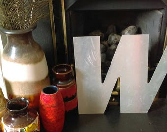 Vintage sign writers letters large size W or M silver brushed metal industrial decor