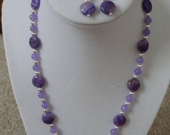 Amethyst necklace and earrings set
