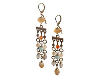 Every Earrings Giallo Azzurro, Italian Jewels, Semiprecious Stones and Brass