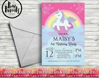 Girls Unicorn Rainbow  - Luxury Childrens Customised Birthday Party Invitations (Printed & Digital)