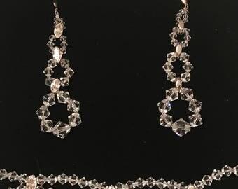 Svarowski bridal set brancalet and earrings