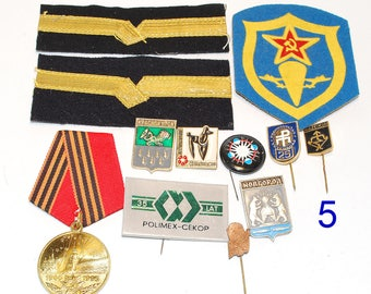 Set Of Old Pins, Badges And Military Patches