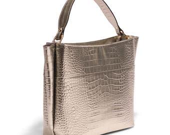Leather Tote Bag, Leather Handbag, Metallic, Italian Leather, Leather Purse