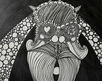 Sad Girl, original small ink drawing
