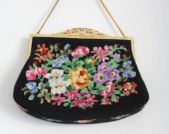 True Vintage gobelin petit point bag  floral evening bag purse art Nouveau  bohemian chic shabby