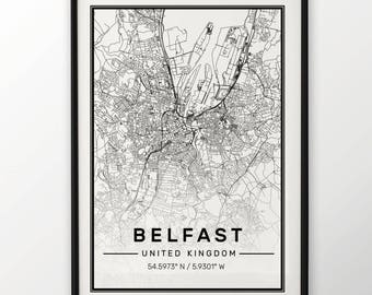 Belfast City Map Print, Modern Contemporary poster in sizes 50x70 fit for Ikea frame All city available London, New york Paris Madrid Rome