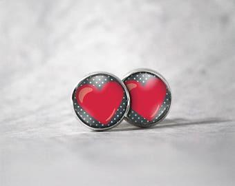Cabochon 12 mm earrings / heart