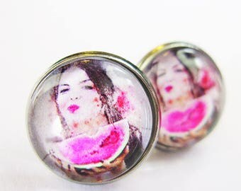 Cabochon 12 mm earring / women watermelon