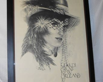 Vintage James Russell Signed Print!! Mardi Gras New Orleans 1987 Rare!!