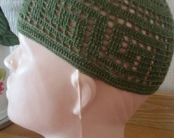 Kufi hat men.Green muslim hat.Kufihat.Muslim cap.Islamic hat.Praying hat.Cotton hat.Summer hat.Skullcap hat.Hand crochet hat.Beanie.dads hat