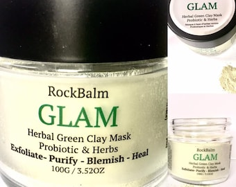 Glam Herbal Green Clay Probiotic & Herb Mask Naturopathic Blend