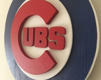 "3D Chicago Cubs Wooden Logo, CubNation Series 1 of 3"" collect them all"