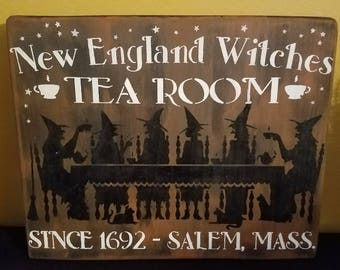 "Hand Painted Wood ""New England Witches Tea Room""  Halloween Sign/Plaque"
