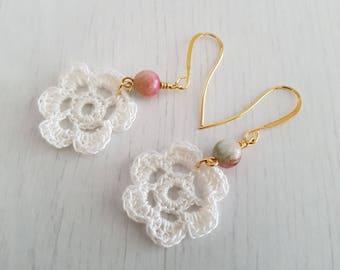 Cute crochet earrings, with multicolored jade beads, silver plated earrings.