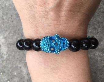 Blue Shimmering Skull Black Onyx Semi Precious Stone Bracelet