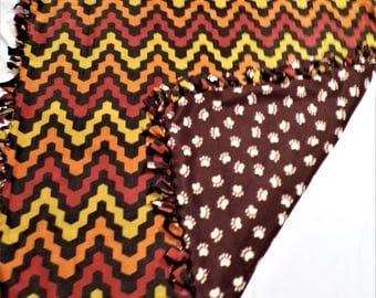 Paw Print  and Chevron Fleece Blanket