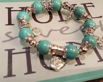 Aqua and Silver charm Bracelet