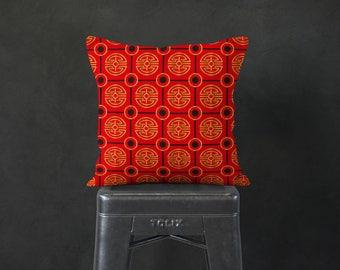 Japanese Throw Pillow - Asian Inspired Home Decor - Red Pillow - Pillow Sham - Throw Pillow Cover - Decorative Pillow - Accent Pillow