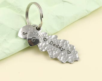 Daddy Oak Leaf and and Acorn Pewter Keyring Dad Gift Fathers Day Gift