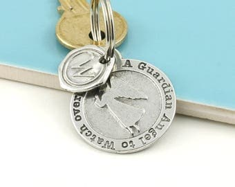 Guardian Angel Pewter Keyring or Token Travellers gift to keep the traveler safe while away