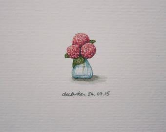 Pink Hydrangeas Watercolour