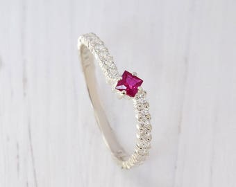 Engagement ruby ring, Silver ruby ring, Minimalist ring, Small silver ring, Delicate ring, Elegant ring, Silver modern ring, Tiny ring
