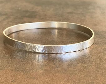 Solid Sterling Silver Hammered Bangle