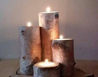 The Pendula. Birch log candle tea light holders