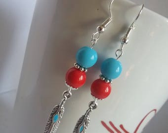 Blue/red feather earrings