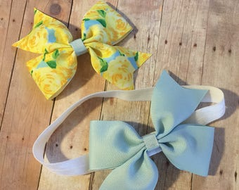 "Two Interchangeable 4"" bows with headband set, baby headbands, lilly pulitzer inspired bows"