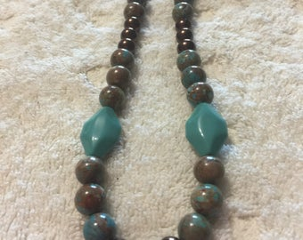 Turquoise and chocolate necklace