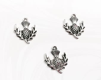 6 Scottish Charms, Scottish Thistle Flower, Scotland Emblem Charm, 23mm x 20mm, SP017