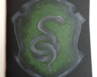 Hand Painted Slytherin Hogwarts House Crest A5 Notebook