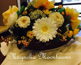 Yellow peony and white rose table arrangement