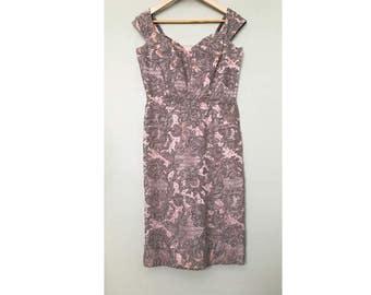 Vintage Gray Dress, Oleg Cassini, 1960s Wiggle Dress, Vintage Cocktail Dress, Gray Intricate Lace Dress. Jackie O Dress.