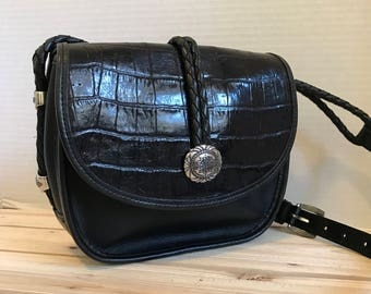 BRIGHTON Black Leather Crossbody Bag // Saddle Bag // Flap Bag