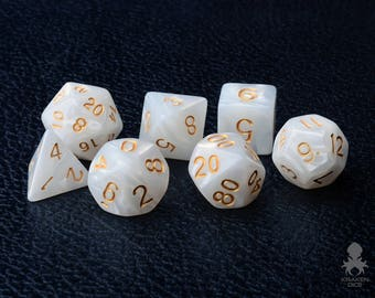 White Marble Polyhedral Dice Set for Dungeons & Dragons / RPG Games, DND Dice / White Pearl (KD0004)