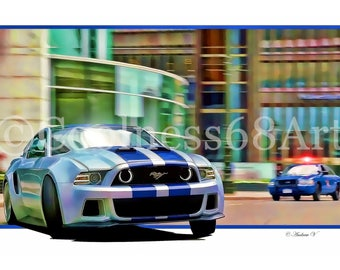Need For Speed 3D Style Original Art Print