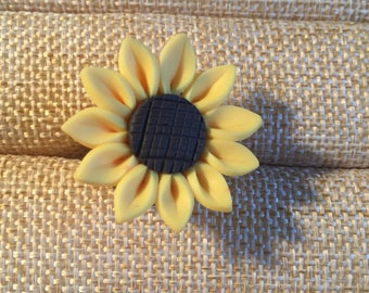 Boho hippy sunflower ring, made from polymer clay, expandable.