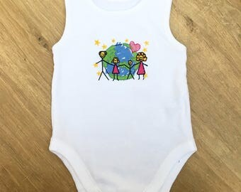 Beautiful Embroidered Baby Grow, Organic Cotton Baby Clothes, Baby Shower Presents,