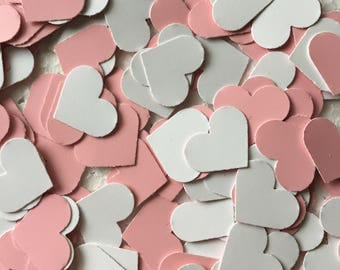 Pink and White Heart Confetti - 1/2 Inch