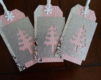 Icy Pink and Silver Large Gift Tags Snowflake