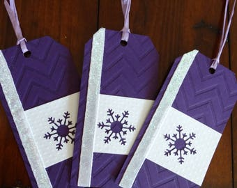 Purple Chevron Snowflake Large Gift Tags