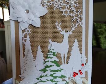 Deer and Trees, Burlap, Snowflakes, Christmas Card