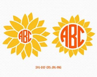 Sunflower SVG, Sunflower Monogram SVG, summer monogram frames svg,CriCut Files frame Cricut download svg jpg png dxf Silhouette cameo