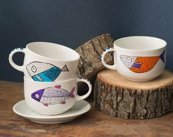 Hand-painted porcelain cups