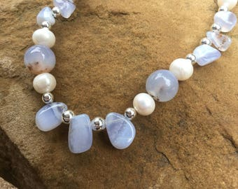 Blue Lace Agate and Pearl necklace set